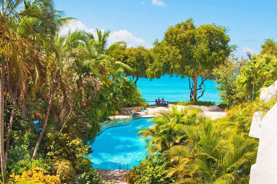 Stunning views of pool and Caribbean Sea